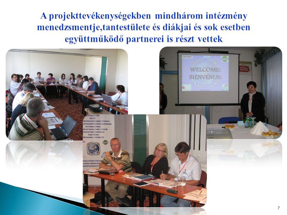 A projekttevékenységekben mindhárom intézmény menedzsmentje,tantestülete és diákjai és sok esetben együttműködő partnerei is részt vettek