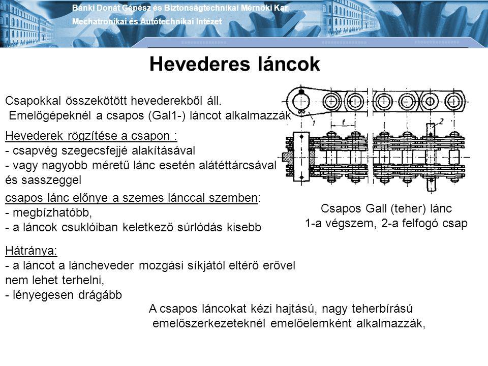 Hevederes láncok Csapokkal összekötött hevederekből áll.