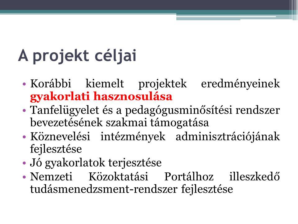 A projekt céljai Korábbi kiemelt projektek eredményeinek gyakorlati hasznosulása.