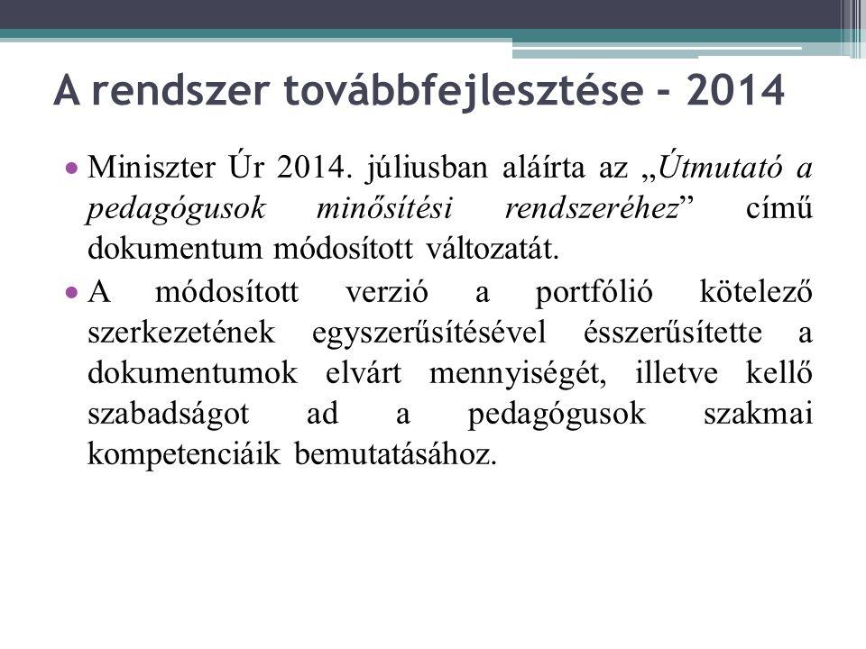 A rendszer továbbfejlesztése - 2014