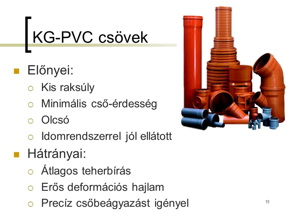 KG-PVC csövek Előnyei: Hátrányai: Kis raksúly Minimális cső-érdesség