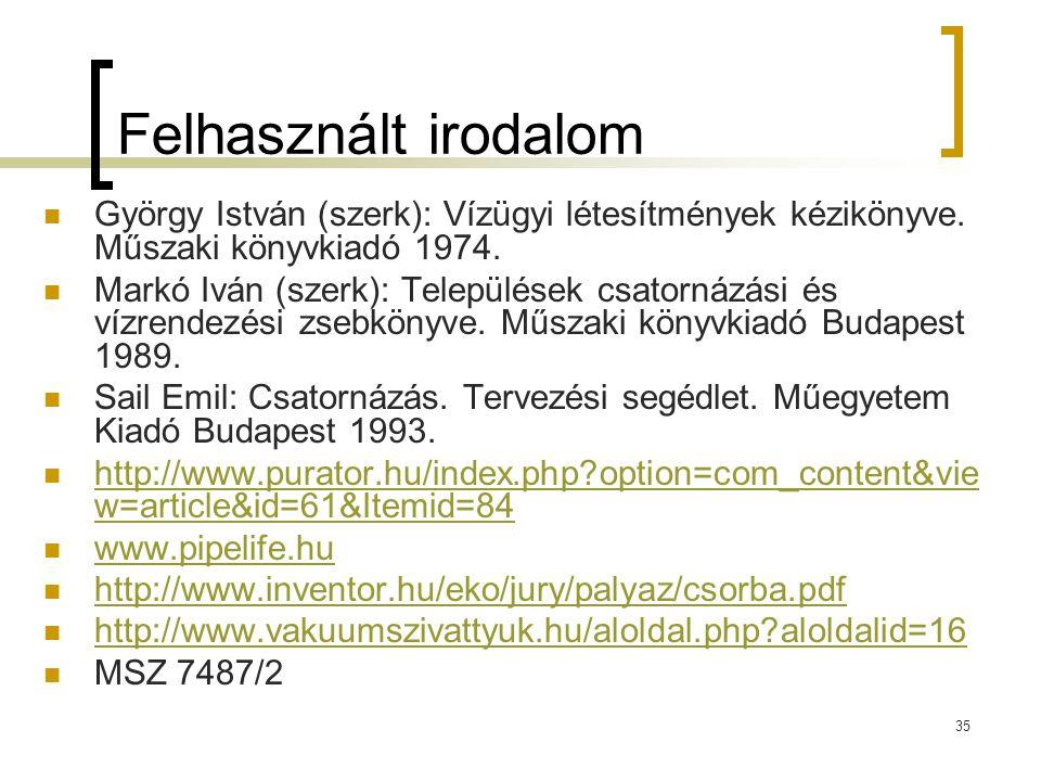 Felhasznált irodalom György István (szerk): Vízügyi létesítmények kézikönyve. Műszaki könyvkiadó 1974.