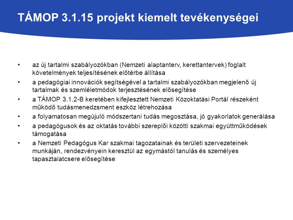 TÁMOP 3.1.15 projekt kiemelt tevékenységei