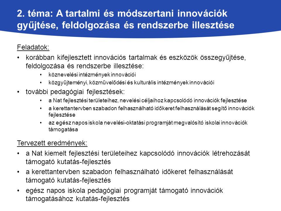 2. téma: A tartalmi és módszertani innovációk gyűjtése, feldolgozása és rendszerbe illesztése