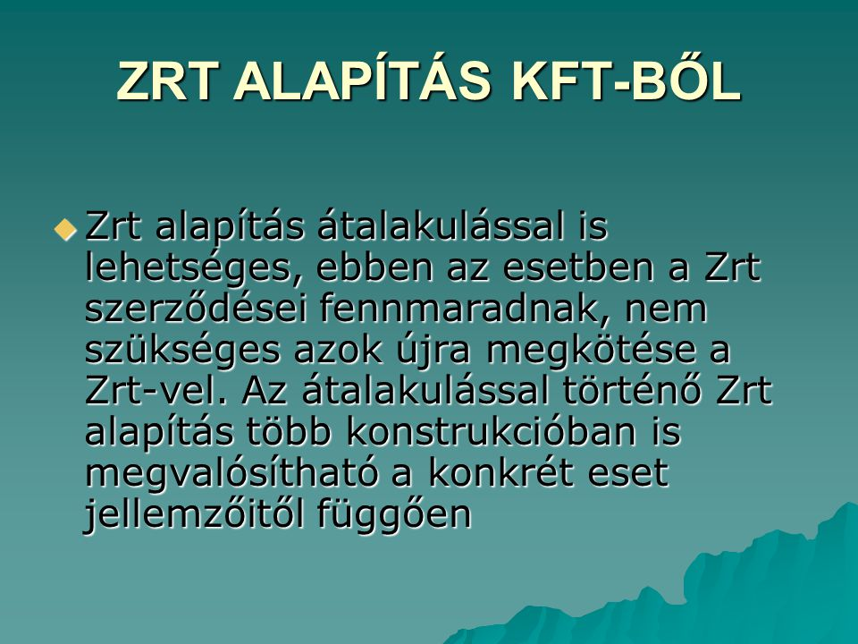 ZRT ALAPÍTÁS KFT-BŐL