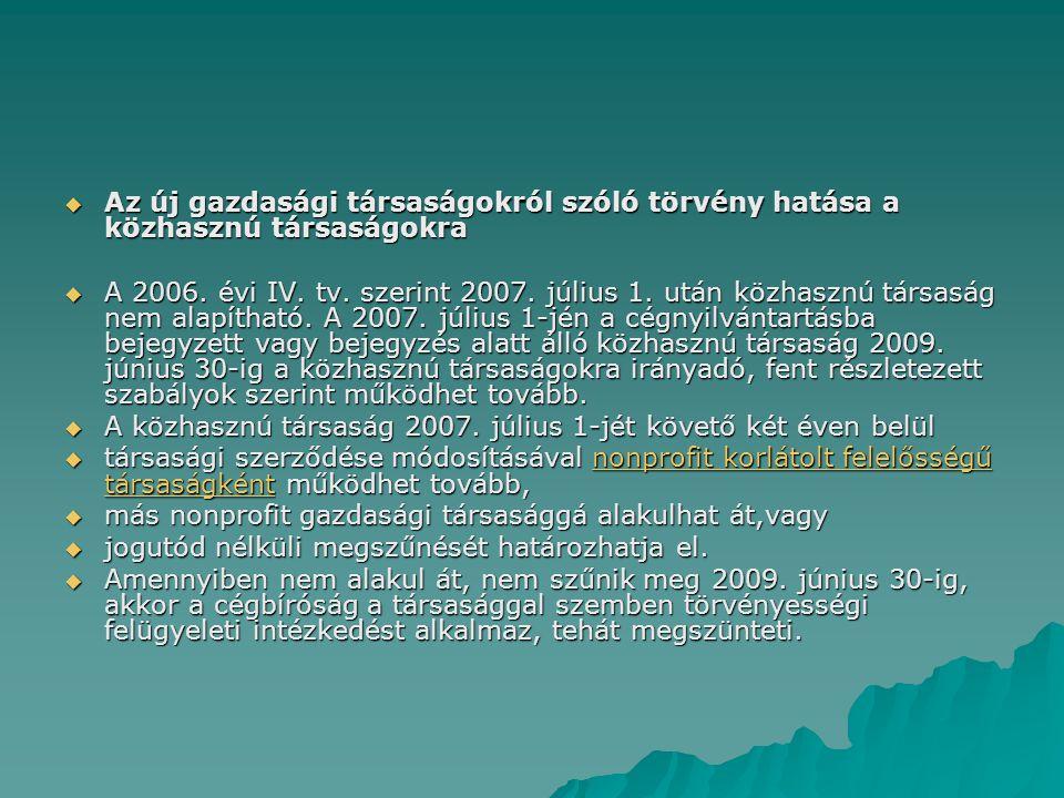 Az új gazdasági társaságokról szóló törvény hatása a közhasznú társaságokra