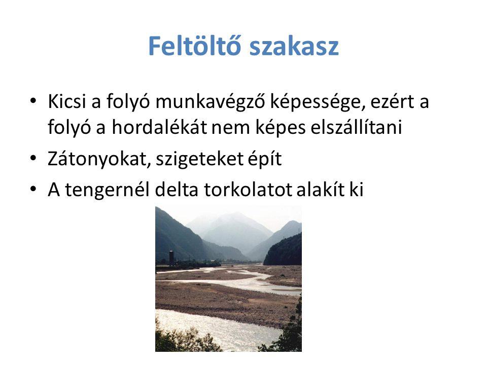 Feltöltő szakasz Kicsi a folyó munkavégző képessége, ezért a folyó a hordalékát nem képes elszállítani.