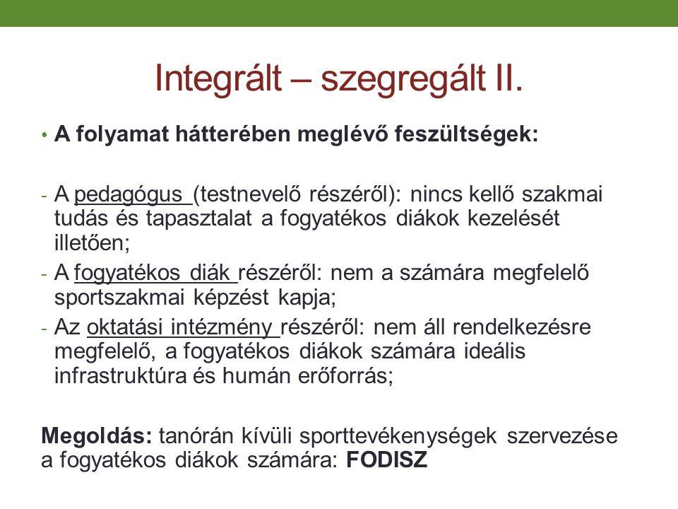 Integrált – szegregált II.
