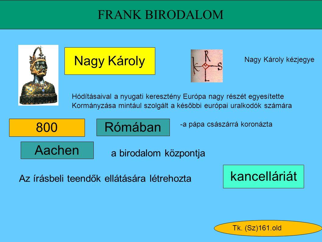 FRANK BIRODALOM Nagy Károly 800 Rómában Aachen kancelláriát