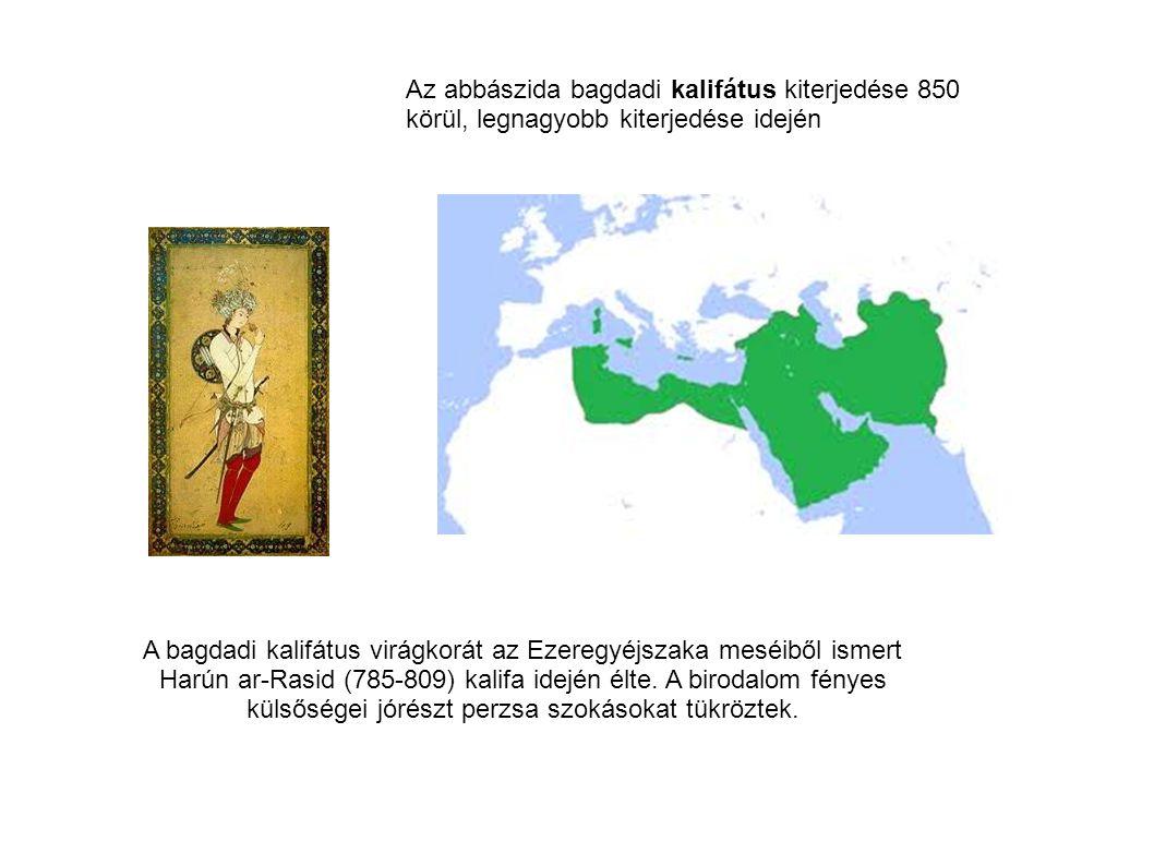 Az abbászida bagdadi kalifátus kiterjedése 850 körül, legnagyobb kiterjedése idején