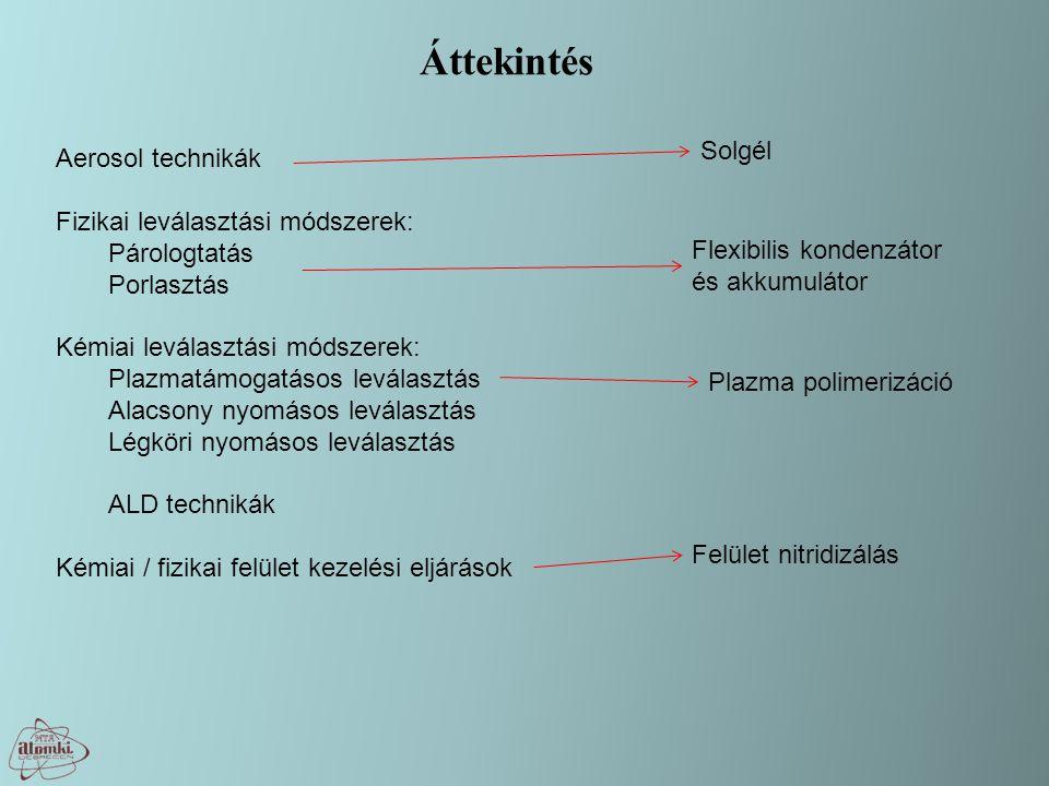 Áttekintés Solgél Aerosol technikák Fizikai leválasztási módszerek: