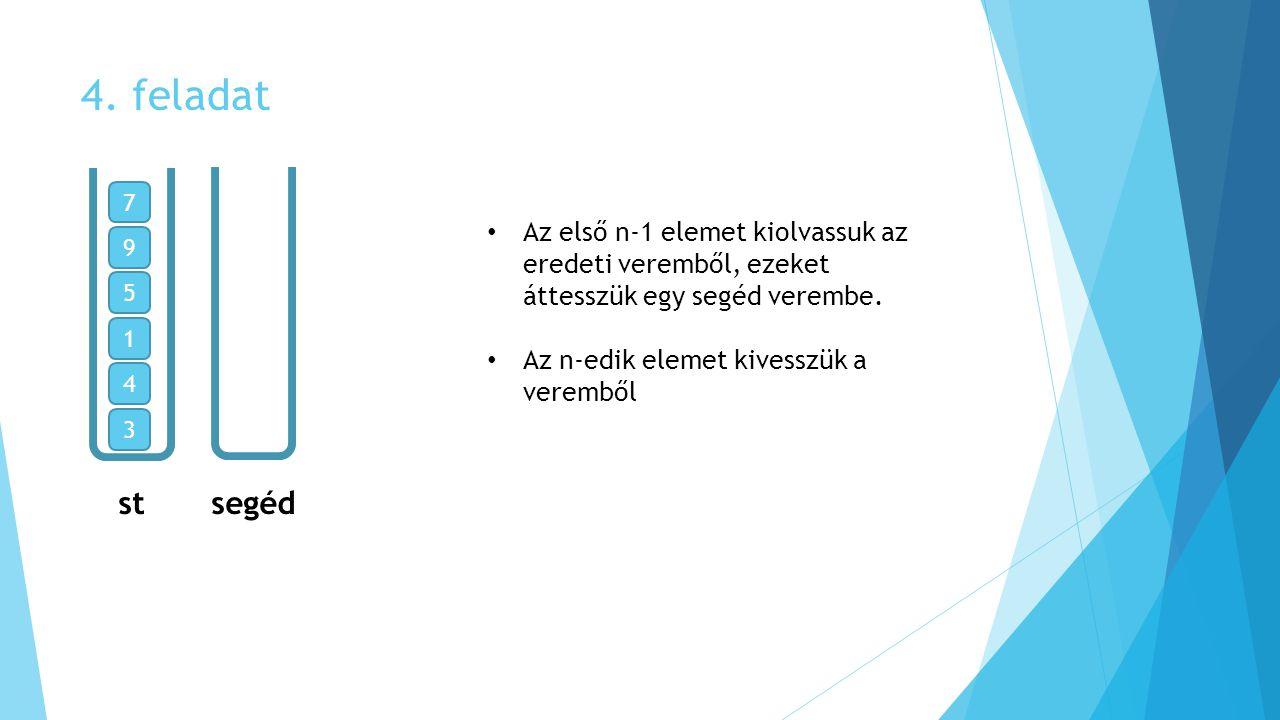 4. feladat 7. Az első n-1 elemet kiolvassuk az eredeti veremből, ezeket áttesszük egy segéd verembe.