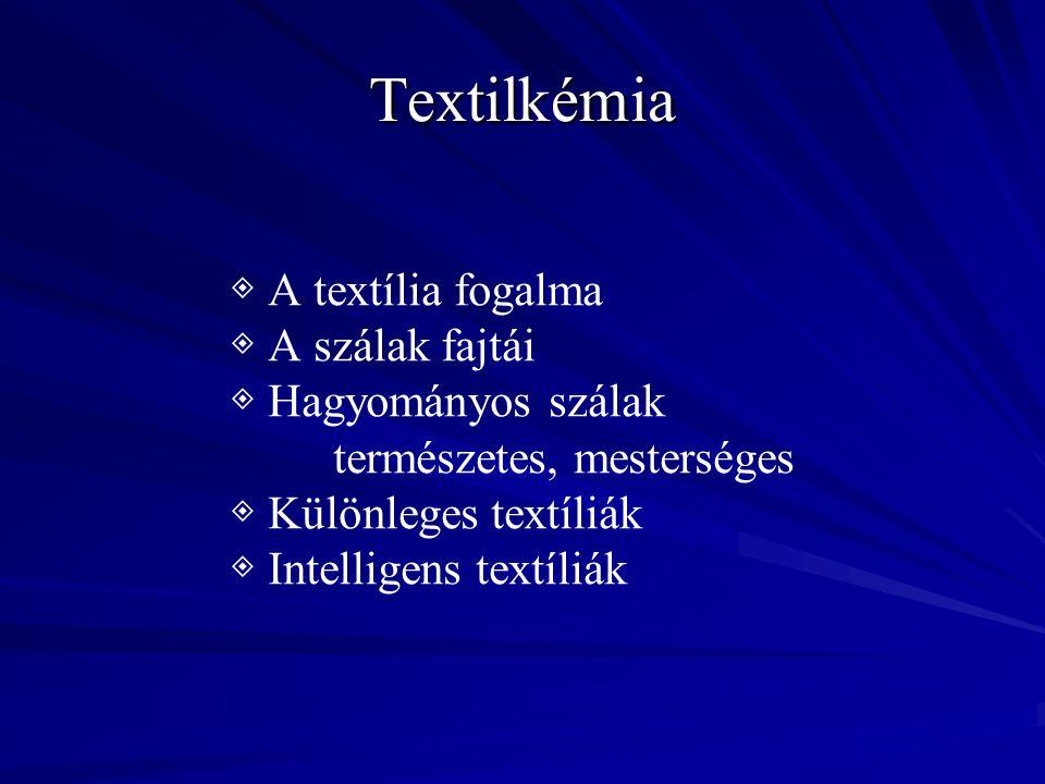 Textilkémia ◈ A textília fogalma ◈ A szálak fajtái