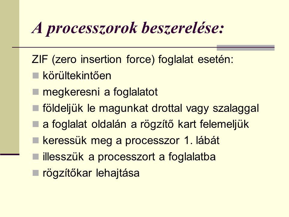 A processzorok beszerelése: