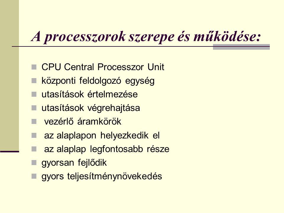 A processzorok szerepe és működése: