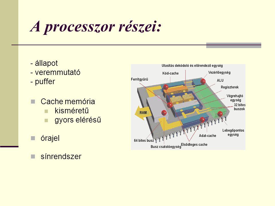 A processzor részei: - állapot - veremmutató - puffer Cache memória