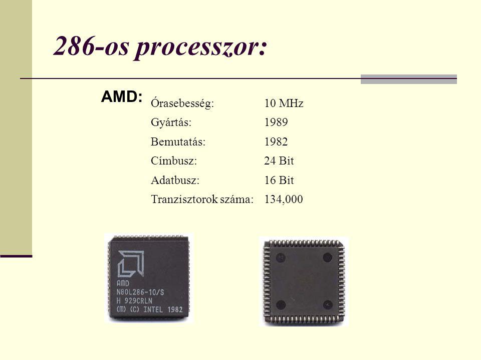 286-os processzor: AMD: 10 MHz Órasebesség: 1989 Gyártás: 1982