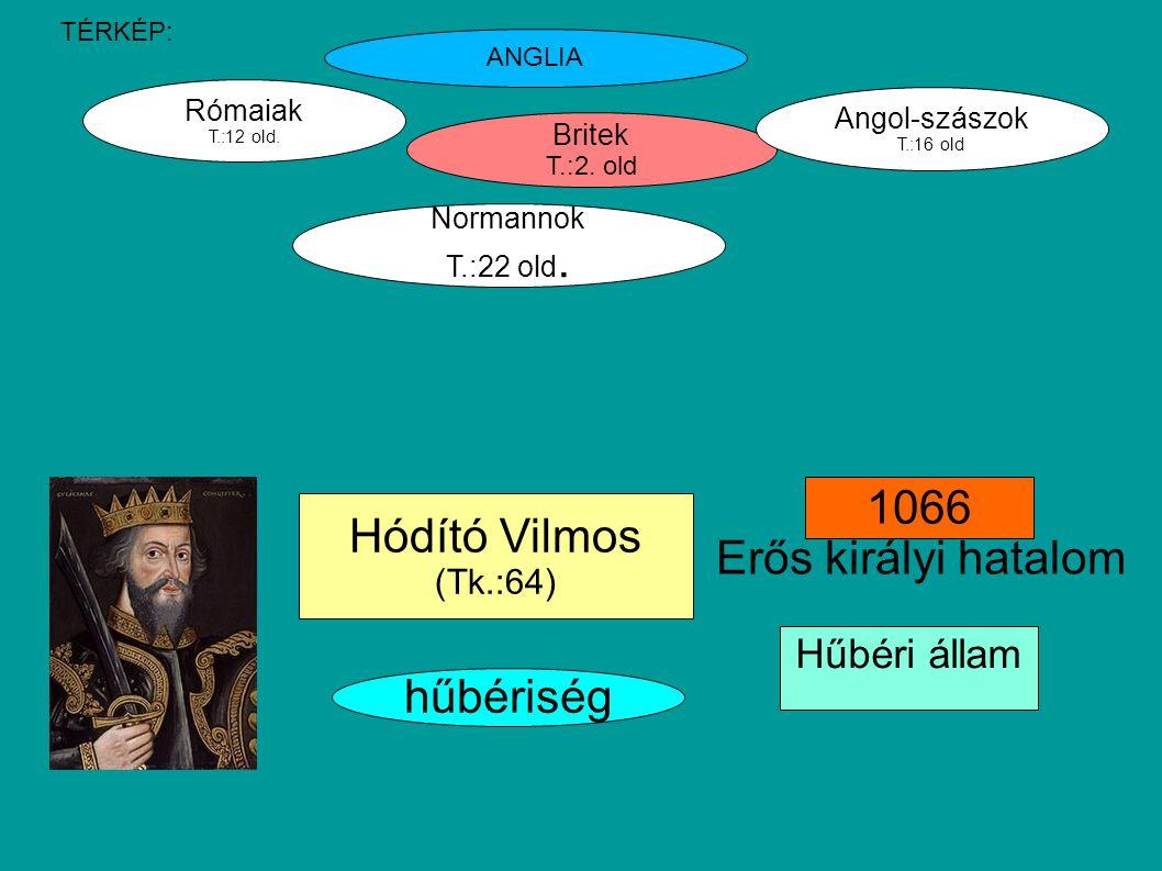 1066 Hódító Vilmos Erős királyi hatalom hűbériség Hűbéri állam