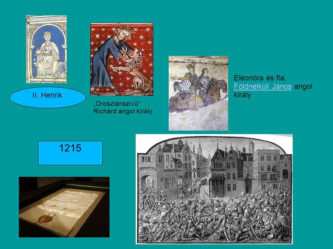 1215 Eleonóra és fia, Földnélküli János angol király II. Henrik