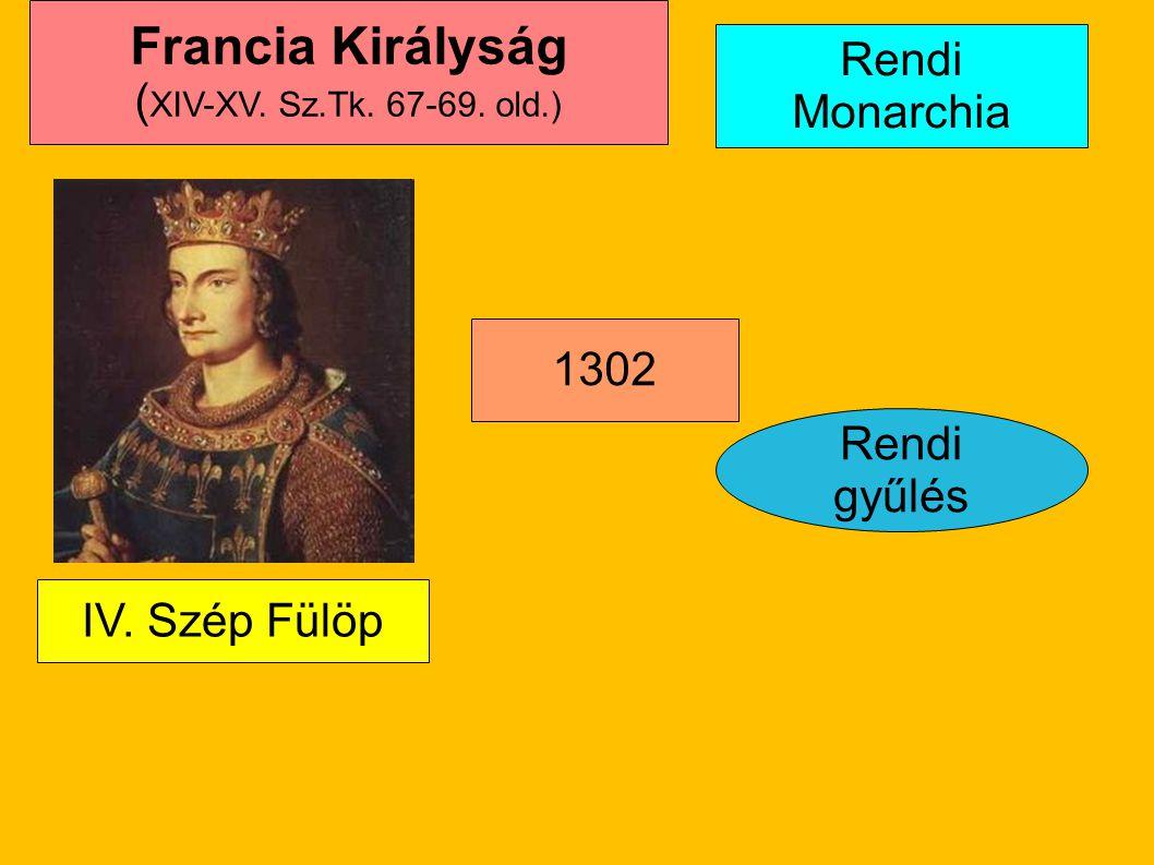 Francia Királyság Rendi Monarchia (XIV-XV. Sz.Tk. 67-69. old.) 1302