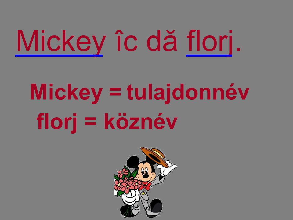 Mickey îc dă florj. Mickey = tulajdonnév florj = köznév