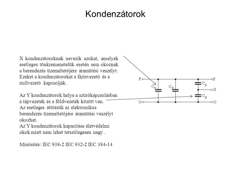 Kondenzátorok X kondenzátoroknak nevezik azokat, amelyek esetleges tönkremenetelük esetén sem okoznak a berendezés üzemeltetőjére áramütési veszélyt.