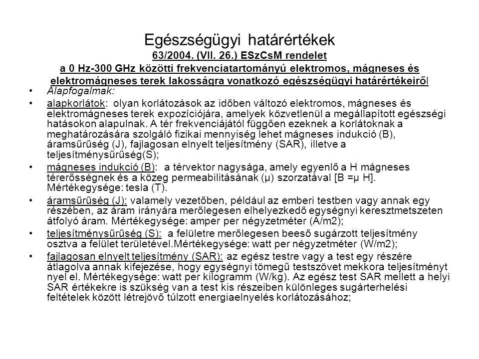 Egészségügyi határértékek 63/2004. (VII. 26