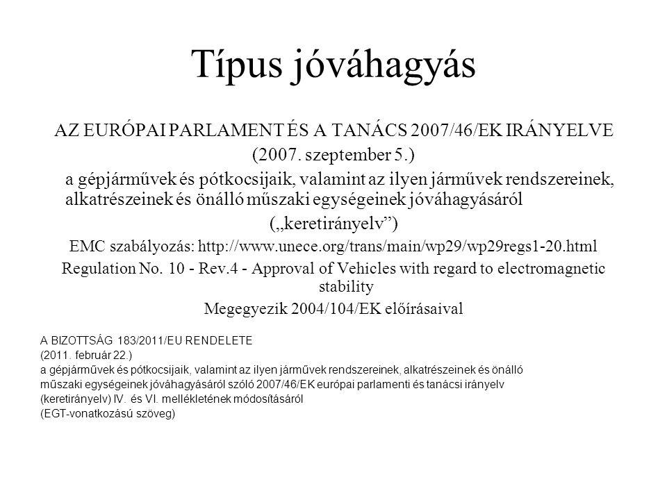 Típus jóváhagyás AZ EURÓPAI PARLAMENT ÉS A TANÁCS 2007/46/EK IRÁNYELVE