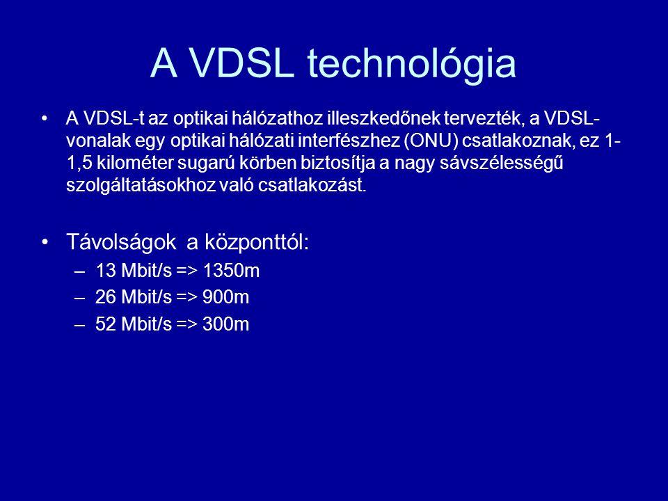A VDSL technológia Távolságok a központtól: