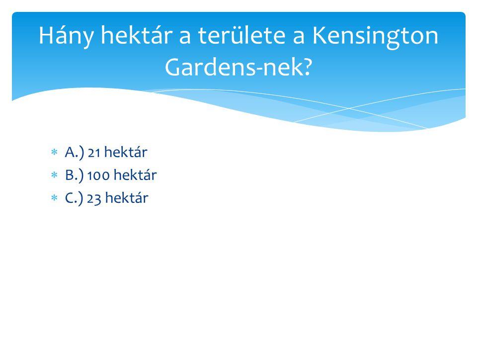 Hány hektár a területe a Kensington Gardens-nek