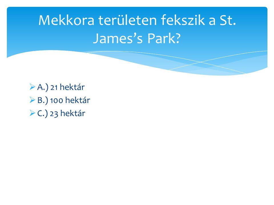 Mekkora területen fekszik a St. James's Park
