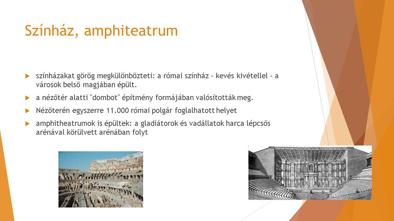 Színház, amphiteatrum színházakat görög megkülönbözteti: a római színház - kevés kivétellel - a városok belső magjában épült.