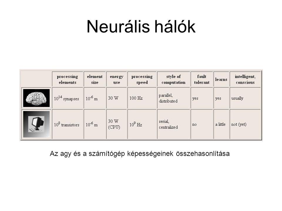 Neurális hálók Az agy és a számítógép képességeinek összehasonlítása