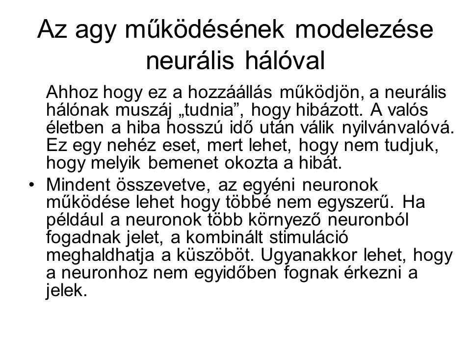 Az agy működésének modelezése neurális hálóval
