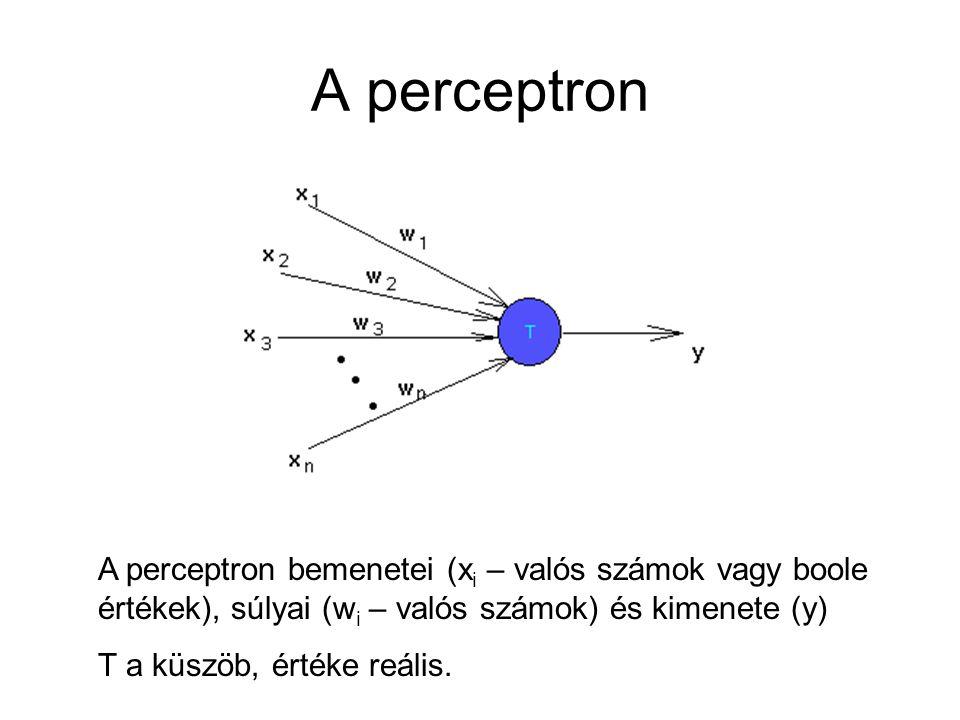A perceptron A perceptron bemenetei (xi – valós számok vagy boole értékek), súlyai (wi – valós számok) és kimenete (y)