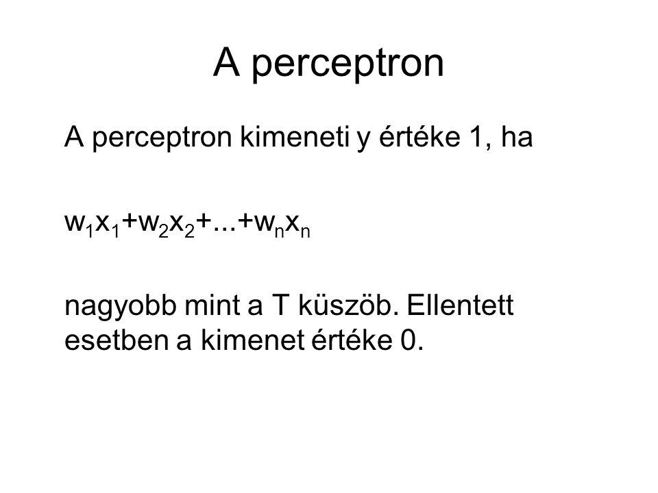 A perceptron A perceptron kimeneti y értéke 1, ha w1x1+w2x2+...+wnxn