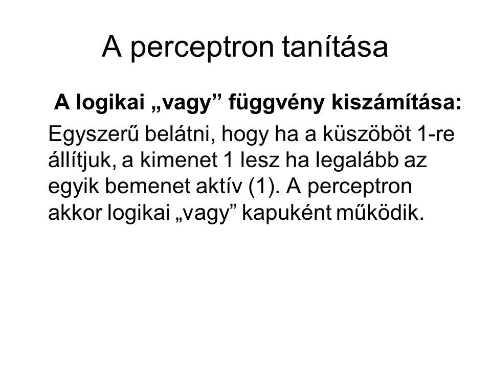 """A perceptron tanítása A logikai """"vagy függvény kiszámítása:"""