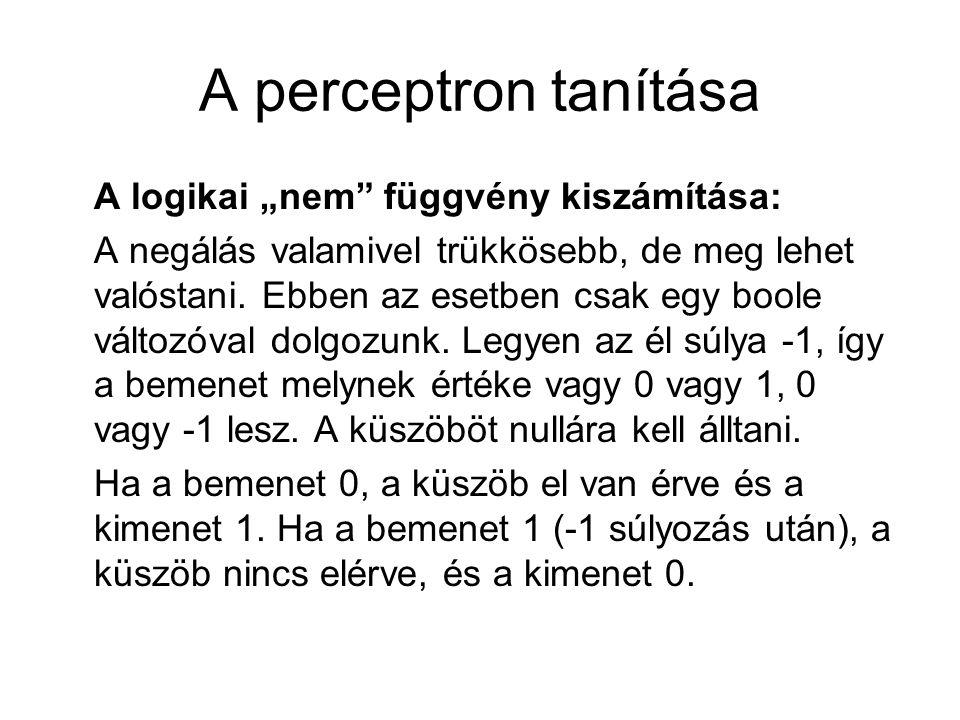 """A perceptron tanítása A logikai """"nem függvény kiszámítása:"""
