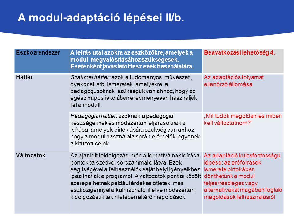 A modul-adaptáció lépései II/b.