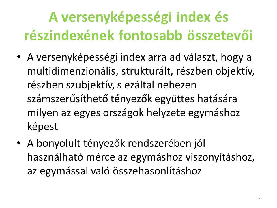 A versenyképességi index és részindexének fontosabb összetevői