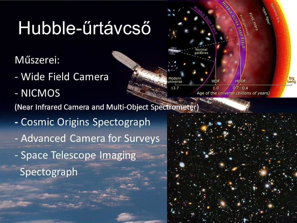 Hubble-űrtávcső Műszerei: - Wide Field Camera - NICMOS