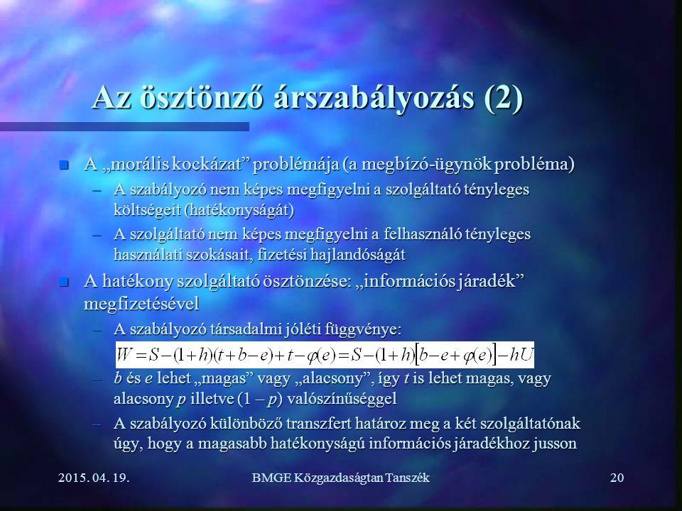 Az ösztönző árszabályozás (2)