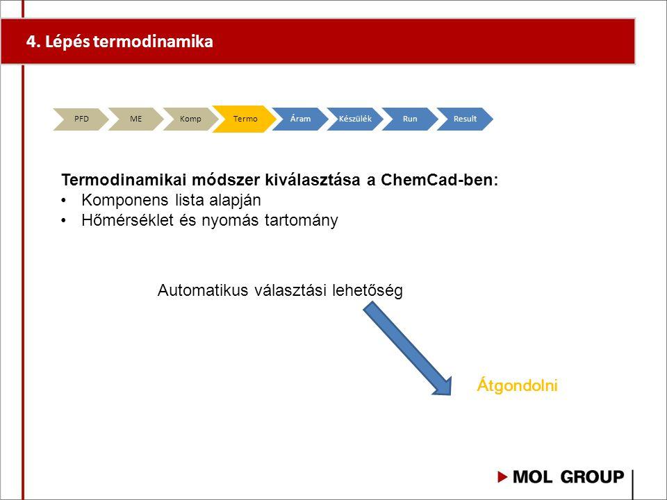 4. Lépés termodinamika PFD. ME. Komp. Termo. Áram. Készülék. Run. Result. Termodinamikai módszer kiválasztása a ChemCad-ben: