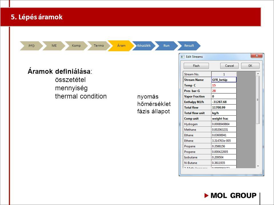 5. Lépés áramok Áramok definiálása: összetétel mennyiség