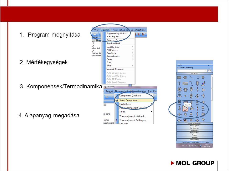 Program megnyitása 2. Mértékegységek 3. Komponensek/Termodinamika 4. Alapanyag megadása