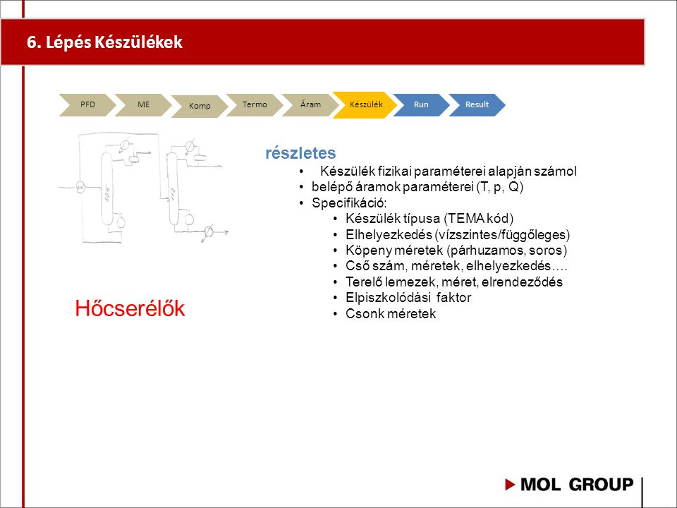 Hőcserélők 6. Lépés Készülékek részletes