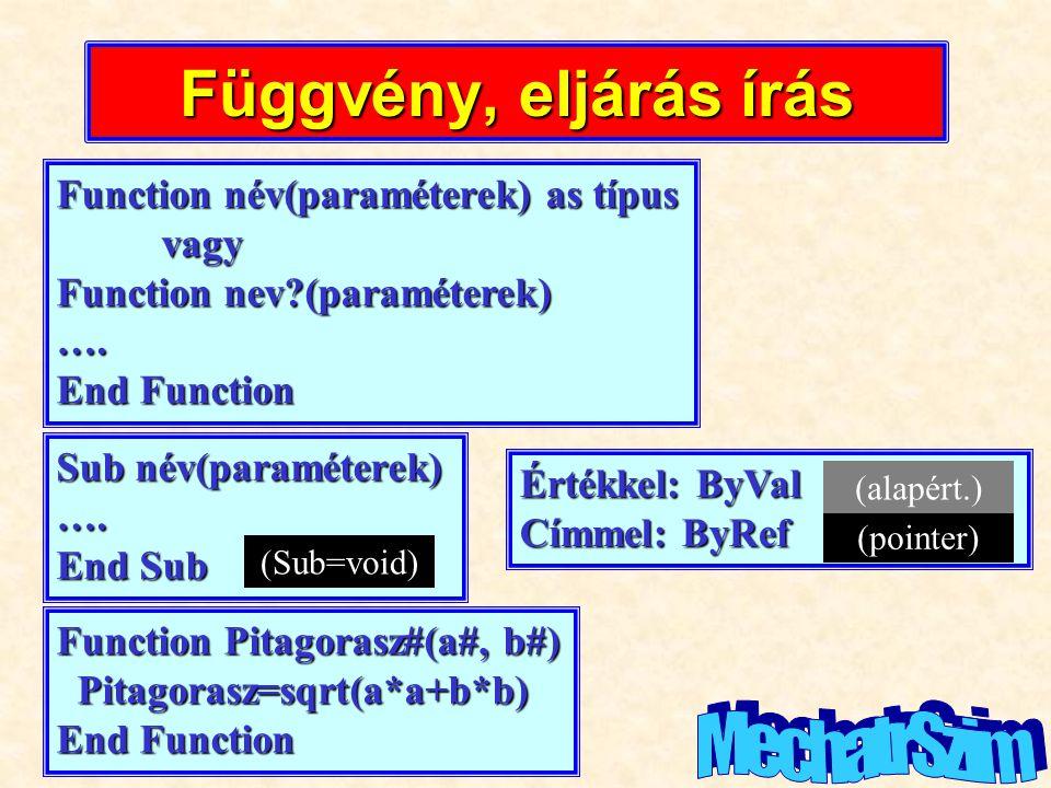 Függvény, eljárás írás MechatrSzim Function név(paraméterek) as típus