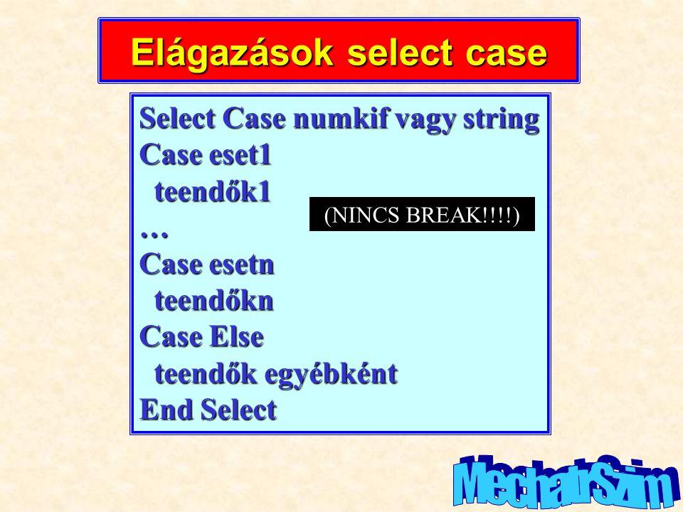 Elágazások select case