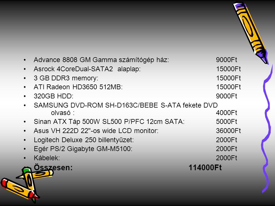 Összesen: 114000Ft Advance 8808 GM Gamma számítógép ház: 9000Ft