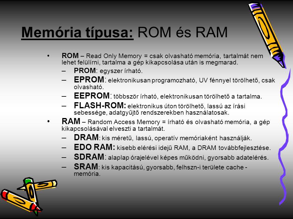 Memória típusa: ROM és RAM